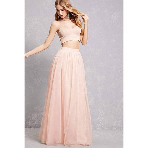 Forever 21 Skirts Light Pink Tulle Maxi Skirt Poshmark